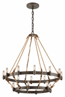 Troy F3128 Pike Place Shipyard Bronze Finish 32  Wide Lighting Chandelier