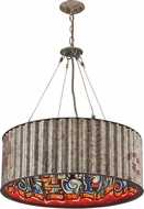 Troy F4766 Street Art Hand Worked Wrought Iron Drum Ceiling Pendant Light