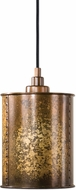 Uttermost 22065 Wolcott Retro Golden Galvanized Mini Drum Hanging Lamp