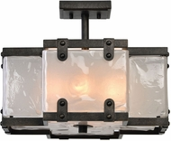 Uttermost 22278 Brattleboro Contemporary Matte Black With Antique Brass Distressing Ceiling Lighting