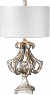 Uttermost 27103-1 Vinadio Modern Heavily Distressed Silver Leaf Side Table Lamp