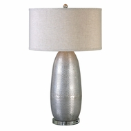 Uttermost 27121-1 Tartaro Lightly Burnished Industrial Silver Table Top Lamp