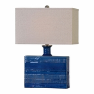 Uttermost 27136-1 Piota Contemporary Distressed Blue Glaze Table Lamp Lighting