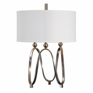 Uttermost 27179-1 Akiro Modern Plated Brushed Nickel Table Lamp Lighting