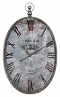 Uttermost 6642 Argento Vintage Style Brushed Aluminum 34 Inch Tall Wall Clock