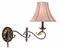 Vaxcel CA-WLS001WA Caesar Traditional Walnut Patina Finish 21.75  Wide Wall Swing Arm Lamps
