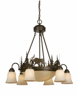 Vaxcel CH55606BBZ Yellowstone Rustic Burnished Bronze Finish 27  Tall Hanging Chandelier