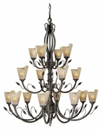 Vaxcel CP-CHU016BW Capri Country Black Walnut Finish 44.5  Wide Hanging Chandelier