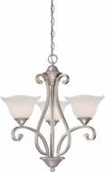 Vaxcel CS-CHU003BN Caspian Traditional Brushed Nickel Finish 22  Wide Mini Hanging Chandelier