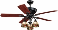 Vaxcel F0006 French Country Tiffany Oil Shale Finish 52  Wide Home Ceiling Fan