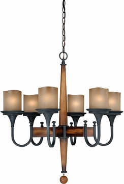 Vaxcel Hsix Meritage Charred Wood And Black Iron Finish Nine Tall Hanging Chandelier Vxl H