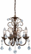 Vaxcel MN-CHU016AW  Crystal Aged Walnut Finish 12.5  Wide Mini Chandelier Light