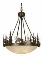 Vaxcel PD55624BBZ Yellowstone Rustic Burnished Bronze Finish 24  Wide Hanging Pendant Light