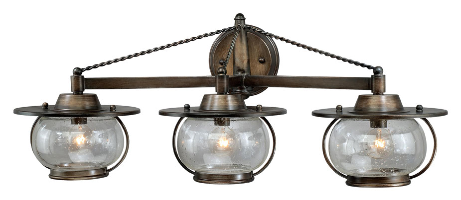 Nautical Bathroom Light Fixture: Vaxcel W0018 Jamestown Nautical Parisian Bronze Finish 10