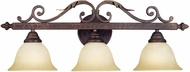 World Imports 263324N Olympus Tradition Crackled Bronze With Silver 3-Light Bathroom Vanity Lighting