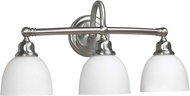 World Imports 353302 Amelia Satin Nickel 3-Light Vanity Light