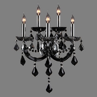 Worldwide W23115C15-BL Lyre Polished Chrome Black 5-Light Sconce Lighting