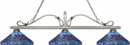 Z-Lite 114-3AS-D16-1 Melrose Antique Silver Multi Colored Tiffany Island Light Fixture