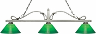 Z-Lite 114-3AS-GCG14 Melrose Antique Silver Green Cased Island Lighting
