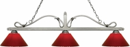 Z-Lite 114-3AS-PRD Melrose Antique Silver Red Island Light Fixture