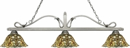 Z-Lite 114-3AS-R14A Melrose Antique Silver Multi Colored Tiffany Island Lighting