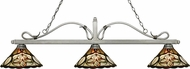 Z-Lite 114-3AS-Z14-10 Melrose Antique Silver Multi Colored Tiffany Kitchen Island Light