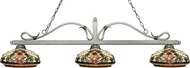 Z-Lite 114-3AS-Z14-34 Melrose Antique Silver Multi Colored Tiffany Island Lighting