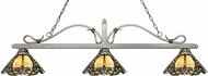Z-Lite 114-3AS-Z14-37 Melrose Antique Silver Multi Colored Tiffany Kitchen Island Light