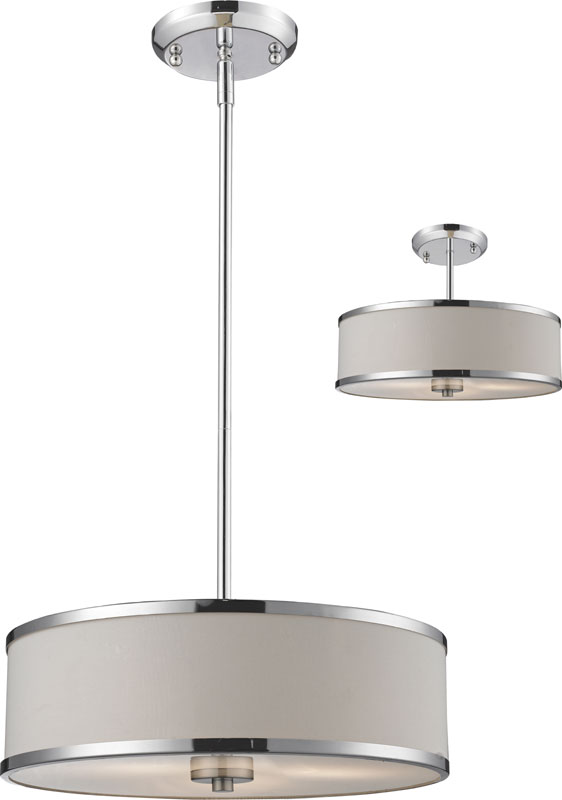 "... 16 Cameo Chrome 15.63"" Wide Drum Hanging Light Fixture / Ceiling Light"