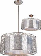 Z-Lite 185-20 Saatchi Contemporary Chrome 9  Tall Drum Pendant Hanging Light / Flush Mount