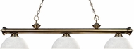 Z-Lite 200-3AB-DWL14 Riviera Antique Brass Dome White Linen  Island Lighting