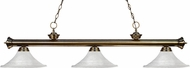 Z-Lite 200-3AB-FWM16 Riviera Antique Brass Fluted White Mottle Kitchen Island Light