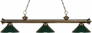 Z-Lite 200-3AB-MDG Riviera Antique Brass Dark Green Kitchen Island Light Fixture