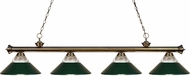 Z-Lite 200-4AB-RDG Riviera Antique Brass Clear Ribbed Glass and Metal Dark Green Island Light Fixture