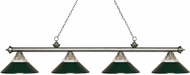 Z-Lite 200-4AS-RDG Riviera Antique Silver Clear Ribbed Glass & Dark Green Island Lighting