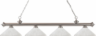 Z-Lite 200-4BN-AWL14 Riviera Brushed Nickel Angle White Linen Kitchen Island Lighting