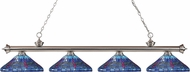 Z-Lite 200-4BN-D16-1 Riviera Brushed Nickel Multi Colored Tiffany Island Light Fixture