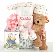 Personalized Infant Girl Teddy Bear Basket