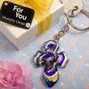 Swirled Glass Cross Key Chain