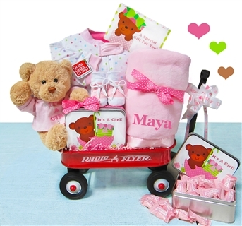 Welcome Baby Girl Gift Wagon