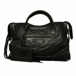 Balenciaga Black Lambskin Leather Motorcycle Bag 115748