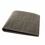 FENDI 7M0169 Fendi FF Logo Men's Bifold Wallet Black Leather