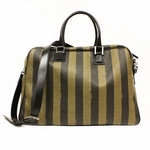 Fendi Unisex Tobacco Pequin Striped Large Duffle Bag 7VA283