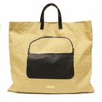 FENDI 8BH249 Fendi Linen Shopping Tote Bag Black Leather