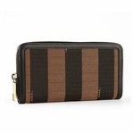 Fendi 8M0024 Pequin Stripe Women's Zip Wallet