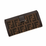 Fendi 8M0294 Zucca FF Logo Tobacca Brown Leather Snap Wallet