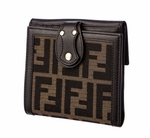 Fendi Brown Leather Chef Zucca Wallet 8M0206