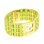FENDI Green Lamb Leather Gold Metal Bracelet 8AG137