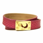 Fendi Hot Pink Python Leather Double Stranded Bracelet 8AG230