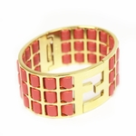 FENDI Medium Hot Pink Lamb Leather Gold Metal Bracelet 8AG137